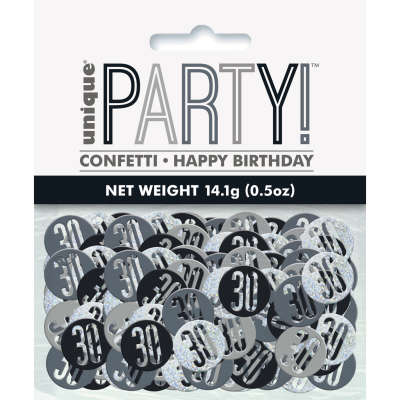 Black Glitz 30th Birthday Party Confetti 14g