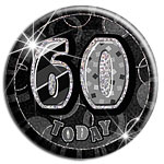 Black Glitz '60 Today' Birthday Badge