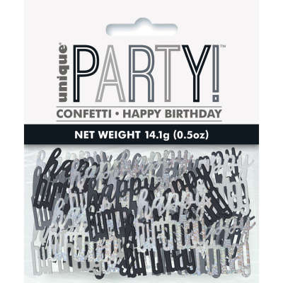 Black Glitz 'Happy Birthday' Party Confetti 14g