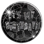 Black Glitz 'It's My Birthday' Badge