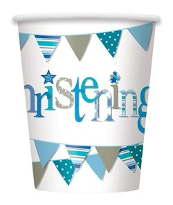Blue Christening Paper Cups