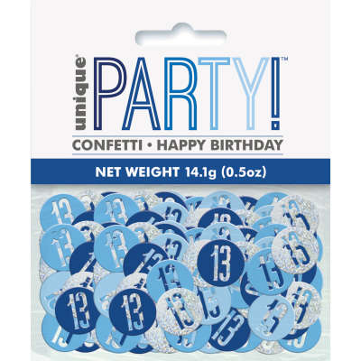 Blue Glitz 13th Birthday Party Confetti 14g