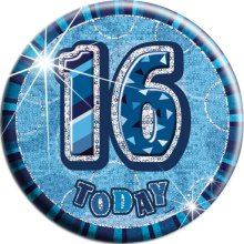 Blue Glitz '16 Today' Birthday Badge