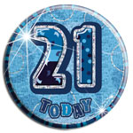 Blue Glitz '21 Today' Birthday Badge