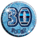 Blue Glitz '30 Today' Birthday Badge