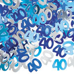 Blue Glitz 40th Birthday Party Confetti 14g