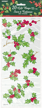 Holly Garland Clear Cello Bags 20pk