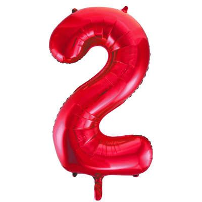 Number 2 Red Super Shape Number Foil Balloon