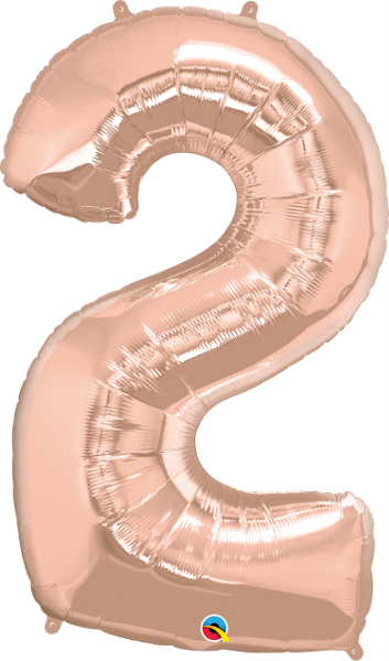 Number 2 Rose Gold Super Shape Number Foil Balloon