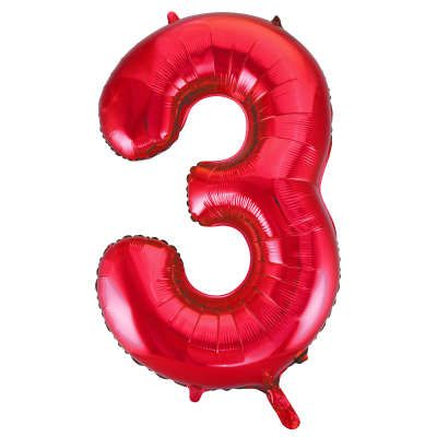 Number 3 Red Super Shape Number Foil Balloon