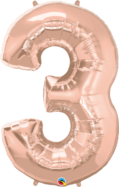 Number 3 Rose Gold Super Shape Number Foil Balloon