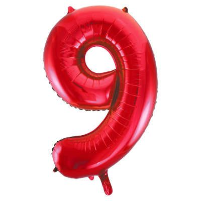 Number 9 Red Super Shape Number Foil Balloon