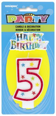 Number Five 5 Birthday Cake Candle With Topper