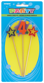 Number Four 4 Number Stars Birthday Cake Candles