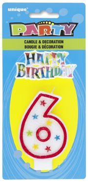 Number Six 6 Birthday Cake Candle With Topper