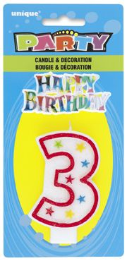 Number Three 3 Birthday Cake Candle With Topper