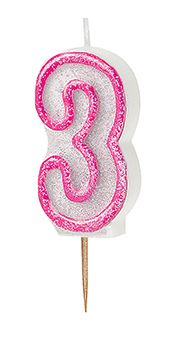 Number Three Pink Glitz Birthday Cake Candle
