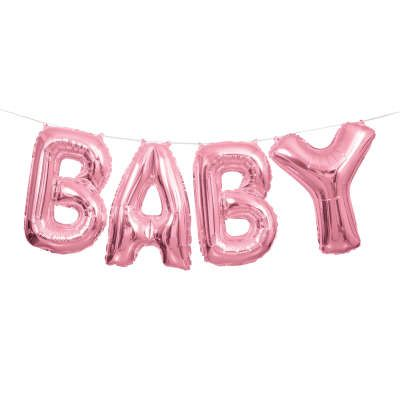 Pink 'BABY' Mini Letters Air-Fill Foil Balloons.