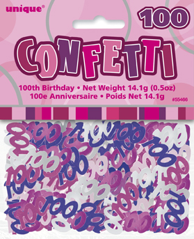 Pink Glitz 100th Birthday Party Confetti 14g