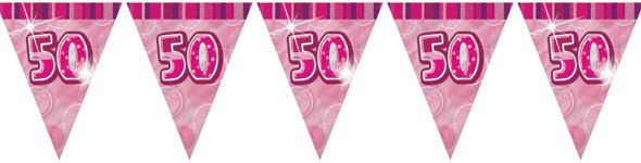 pink glitz 50th birthday flag banner