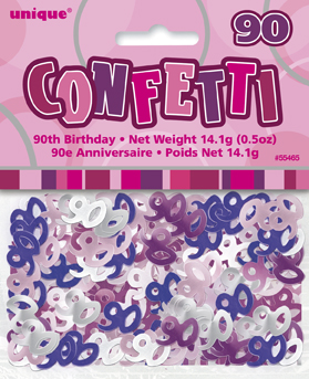 Pink Glitz 90th Birthday Party Confetti 14g