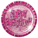 Pink Glitz Paper Party Plates