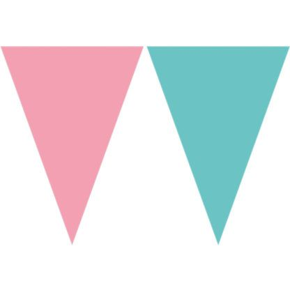 Plastic Pink & Teal Flag Bunting