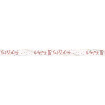 Rose Gold Glitz 'happy 16th birthday' Banner