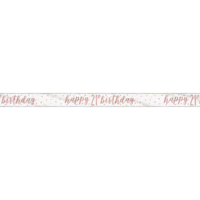 Rose Gold Glitz 'happy 21st birthday' Banner