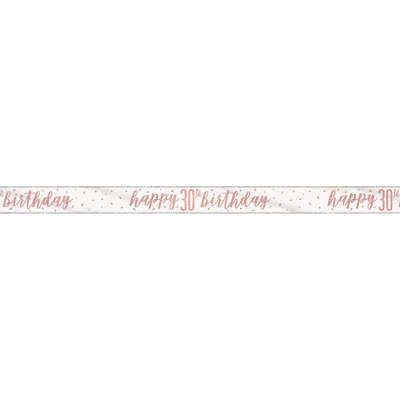 Rose Gold Glitz 'happy 30th birthday' Banner