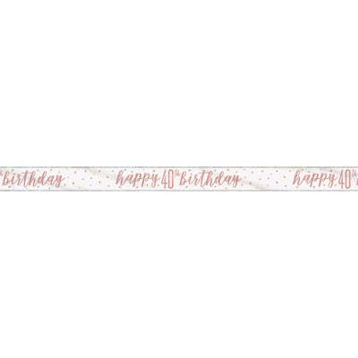 Rose Gold Glitz 'happy 40th birthday' Banner