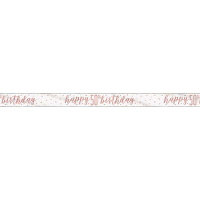 Rose Gold Glitz 'happy 50th birthday' Banner