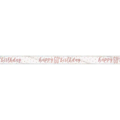 Rose Gold Glitz 'happy 60th birthday' Banner