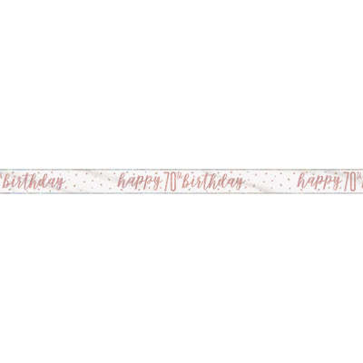 Rose Gold Glitz 'happy 70th birthday' Banner