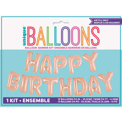 Rose Gold 'HAPPY BIRTHDAY' Mini Letters Air-Fill Foil Balloons.