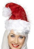 Santa Hat With Red Tinsel Effect