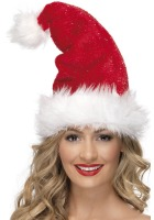 Santa Hat With Silver Tinsel Effect And Fur Trim