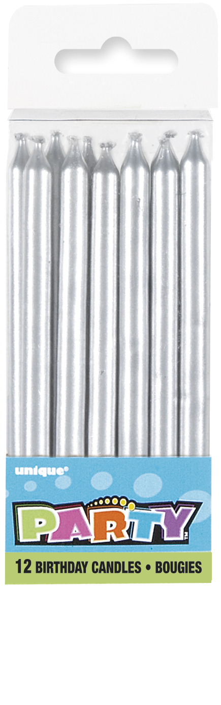 Silver Birthday Cake/ Anniversary Cake Candles 12 Pack
