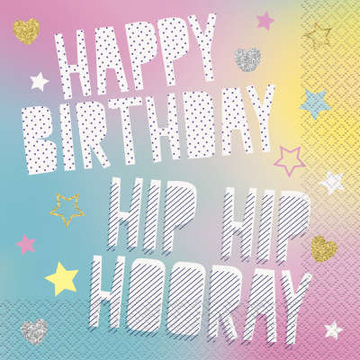 Unicorn 'Hip Hip Hooray' Paper Party Napkins