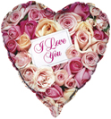 Valentines I Love You Pink Roses Foil Helium Balloon