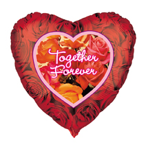 Valentines Together Forever Red Roses Foil Helium Balloon