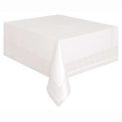 White Plastic Lined Rectangle Tablecover 54in x 108in